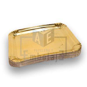 bandeja dorada rectangular